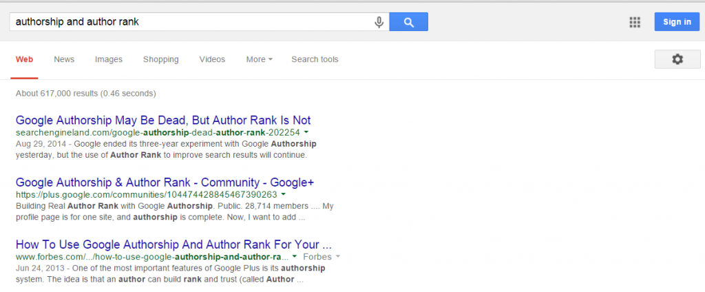 Google authorship and author rank
