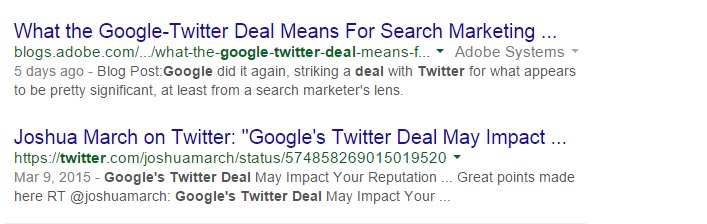 Indexed tweet about the new twitter, google partnership