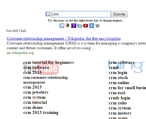 Soovle.com autocomplete results for CRM