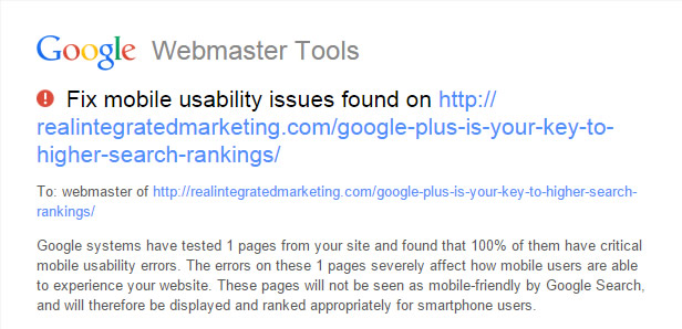 Google Usability Message