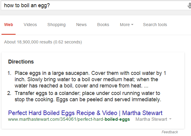 Answer box result for how to boil an egg